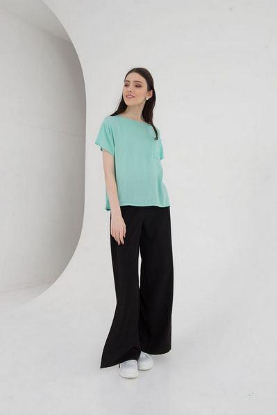 Штапельная футболка с карманом мятного цвета