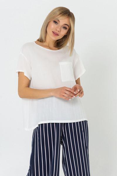 Белая футболка с карманом штапель