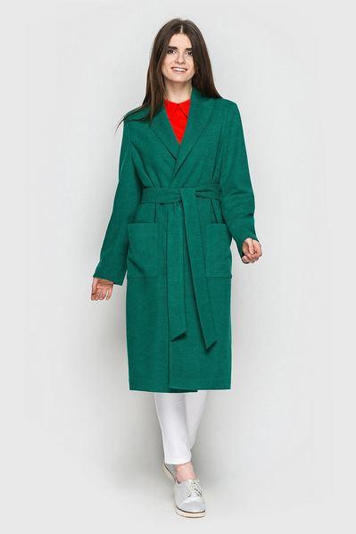 Пальто с запахом травяное