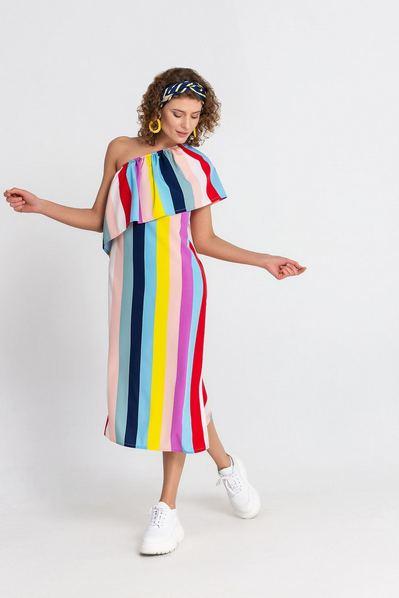 Разноцветное платье на резинке в полоску