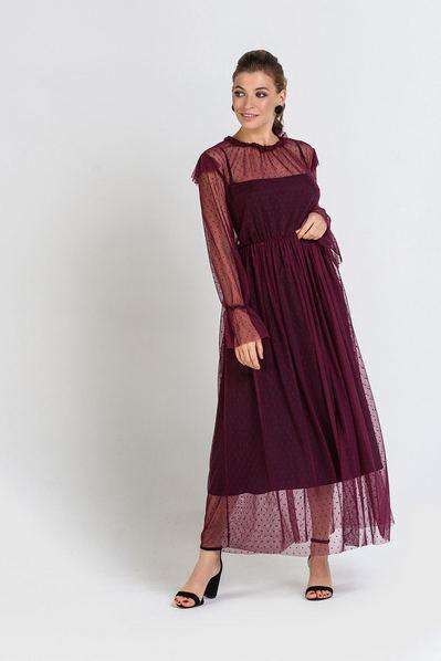 Бордовое платье макси с воланами на рукавах принт горох