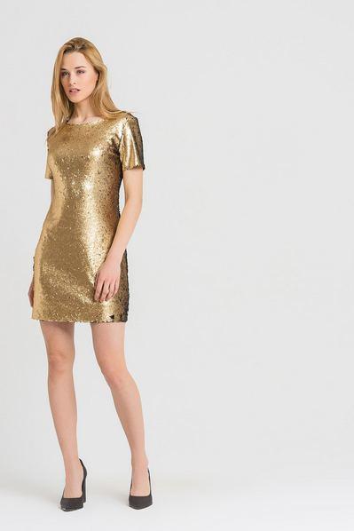 Платье футляр мини-пайетки золото-черное