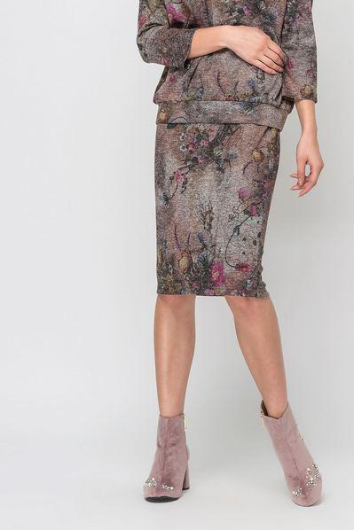 Коричневая юбка трикотаж принт цветы