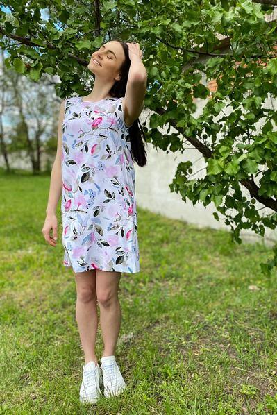 Платье майка розово-голубая акварель на молочном