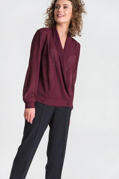 Блуза с запахом из шифона в полоску темный бургунди