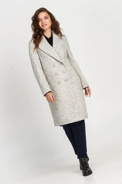 Деми пальто с воротником графитовое большой размер