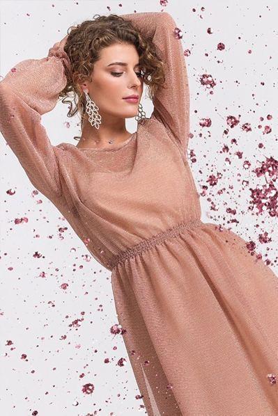 Платье с оборкой из креп-шифона перламутрово-фрезовое