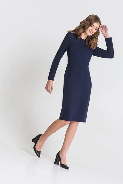 Темно-синее платье-футляр из костюмной ткани