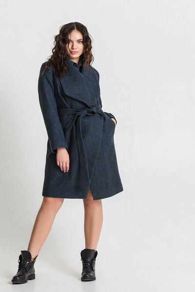 Женское пальто с ассиметричным воротником из кашемира меланж темно-бирюзово-черное большой размер