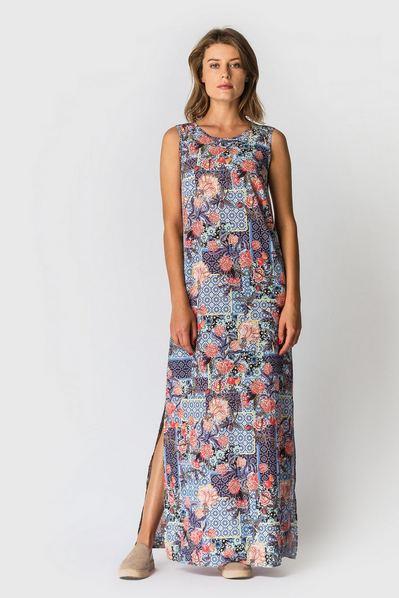 Длинное платье с разрезами из вискозы с принтом оранжевые цветы на фиолетовом