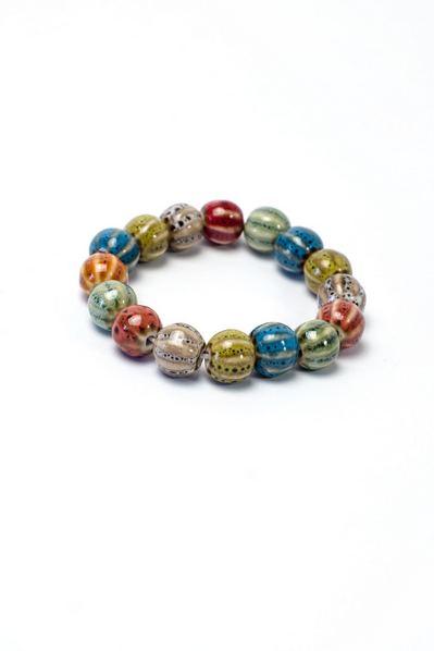 Керамический браслет из леопардовых шариков