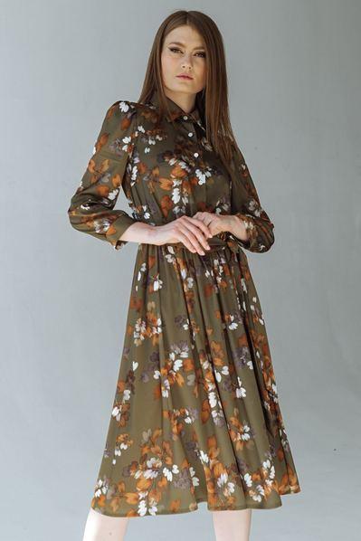 Оливокове платье до колен в цветы