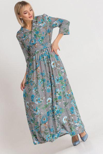 Длинное платье с воротником в клетку с цветочным принтом
