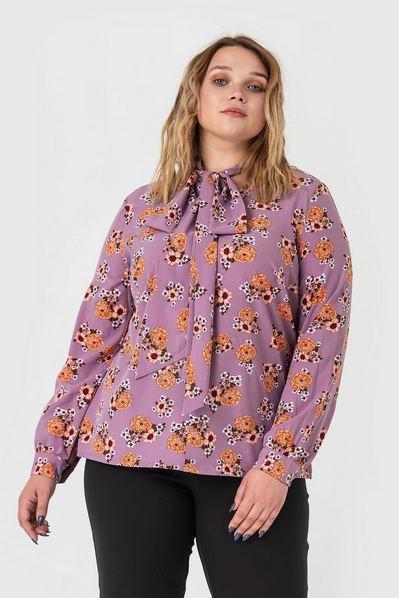 Блузка с завязками принт цветы на темно-фрезовом