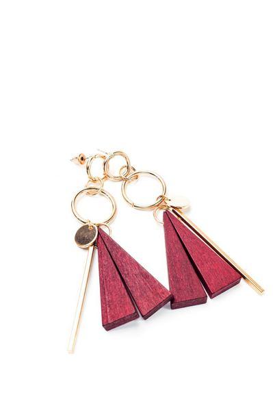 Серьги с деревянной подвеской красный треугольник