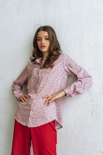 Женская прямая рубашка цветы на фрезовом