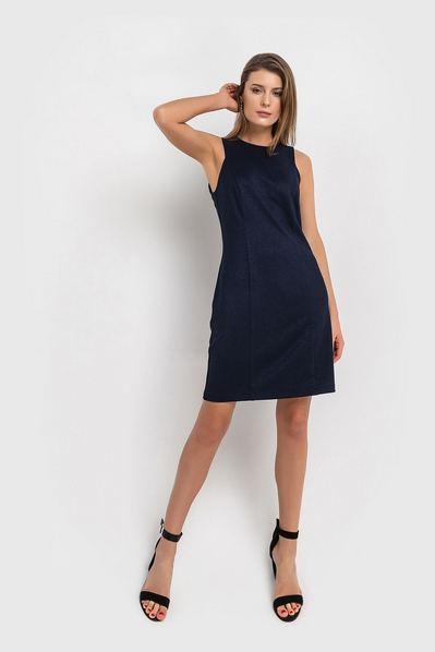 Синее платье футляр мини из костюмной ткани