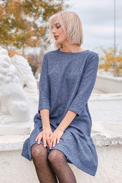 Трикотажное платье с оборкой и люрексом темно-синее