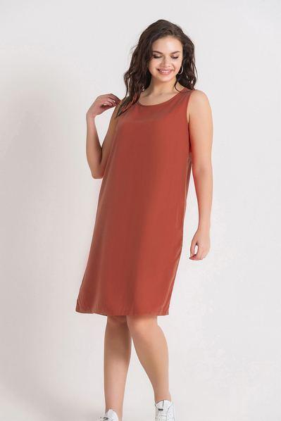 Легкое платье майка темно-фрезовое большой размер