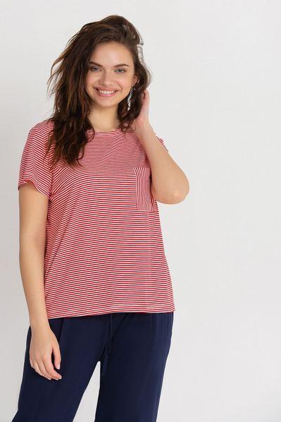 Красная трикотажная футболка с карманом в белую полоску большой размер