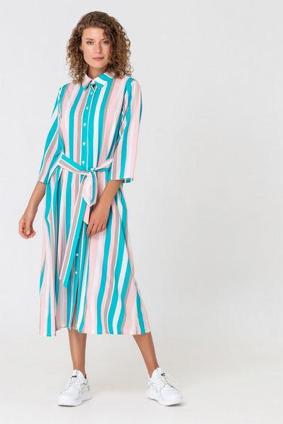 Фрезово-голубое платье рубашка в полоску