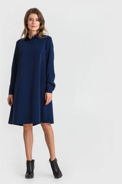 Синее платье рубашка из костюмной ткани