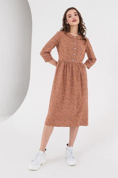 Платье с воротником-стойкой мелкоцвет на терракотовом
