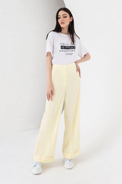 Женские брюки клеш лимонные